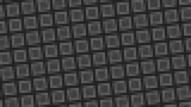 abstrakte Animation in Schwarz-Weiß auf minimalem Hintergrund mit Mosaikeffekt, der rotiert, in Größe, Winkel und Intensität variiert, im 16: 9-Videoformat