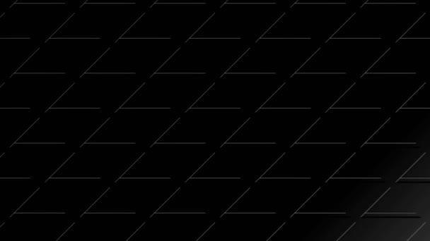 Grafikanimation in Schwarz-Weiß auf minimalem Hintergrund, der in Größe, Winkel und Intensität mit abstrakter Textur variiert, im 16: 9-Videoformat.