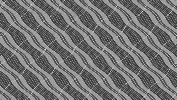 Absztrakt fekete-fehér animáció minimális háttérrel, hullámeffektussal, amely méretét, szögét és intenzitását tekintve absztrakt textúrával változik, 16: 9 videó formátumban