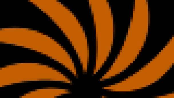 abstraktes Animationsobjekt auf minimalem Schwarz-Weiß-Hintergrund, mit farbigem Mosaikeffekt, der in Größe, Winkel und Intensität variiert, im 16: 9-Videoformat