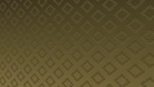 Zlaté umění vzor v basreliéfu na minimálním černém pozadí, nakloněný vodorovně zpočátku vlevo pak se pohybuje doprava, složený z barevných tvarů, ve formátu 4k 16: 9 video.