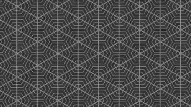 Graphisches Muster in Schwarz-Weiß mit stroboskopischem und hypnotischem Effekt, wobei es zunächst vergrößert und dann verkleinert wird, im 16: 9-Videoformat