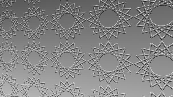 Černobílý vzor v basreliéfu na minimálním pozadí, nakloněný vodorovně zpočátku doleva a pak se pohybuje doprava, složený z barevných tvarů, ve formátu 4k 16: 9 video.