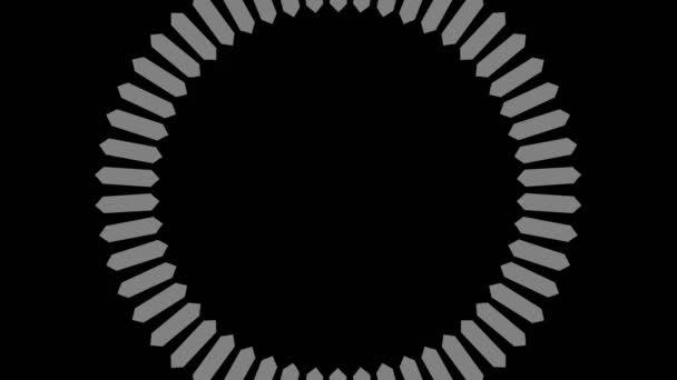 Grafická kresba v černé a bílé barvě se stroboskopickým a hypnotickým efektem, otáčí se ve směru hodinových ručiček a zvětšuje se, ve formátu 16: 9 video