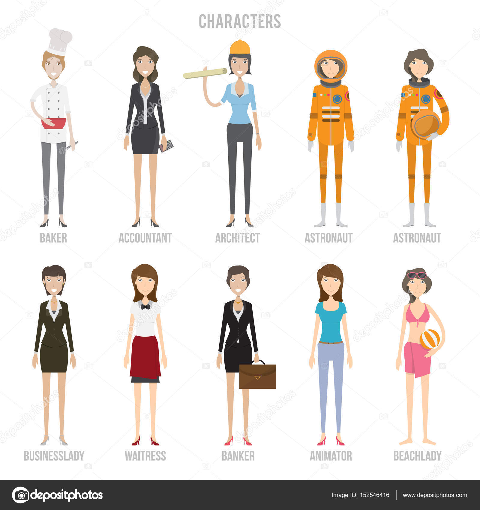 Characters Set Collection — Stock Vector © Graphiqa #152546416