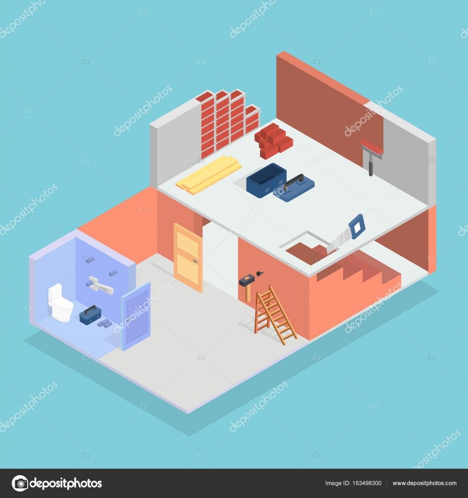 isometric repair conceptual design stock vector - Conceptual Design House