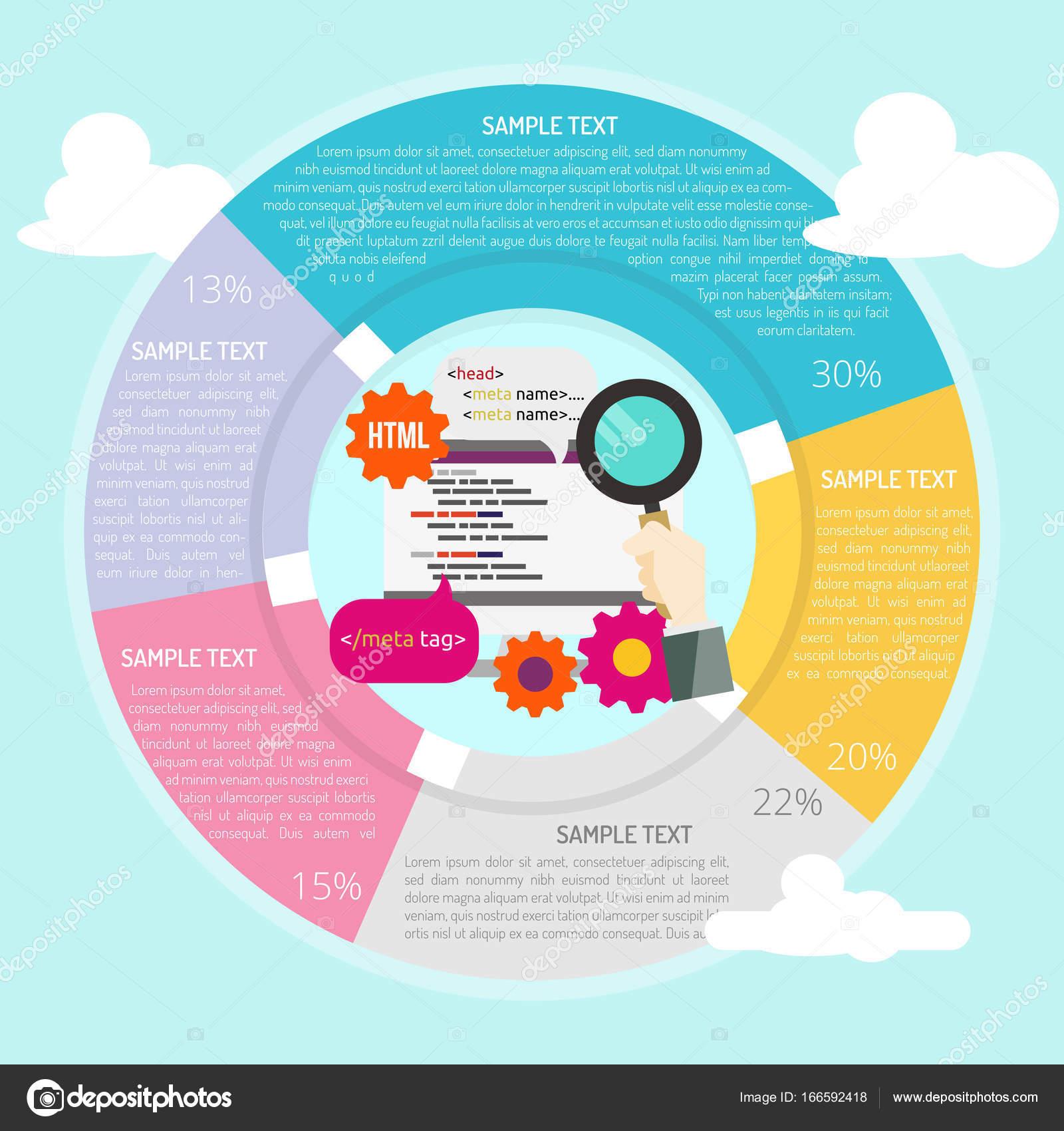 Infografía de optimización SEO etiqueta — Vector de stock © Graphiqa ...