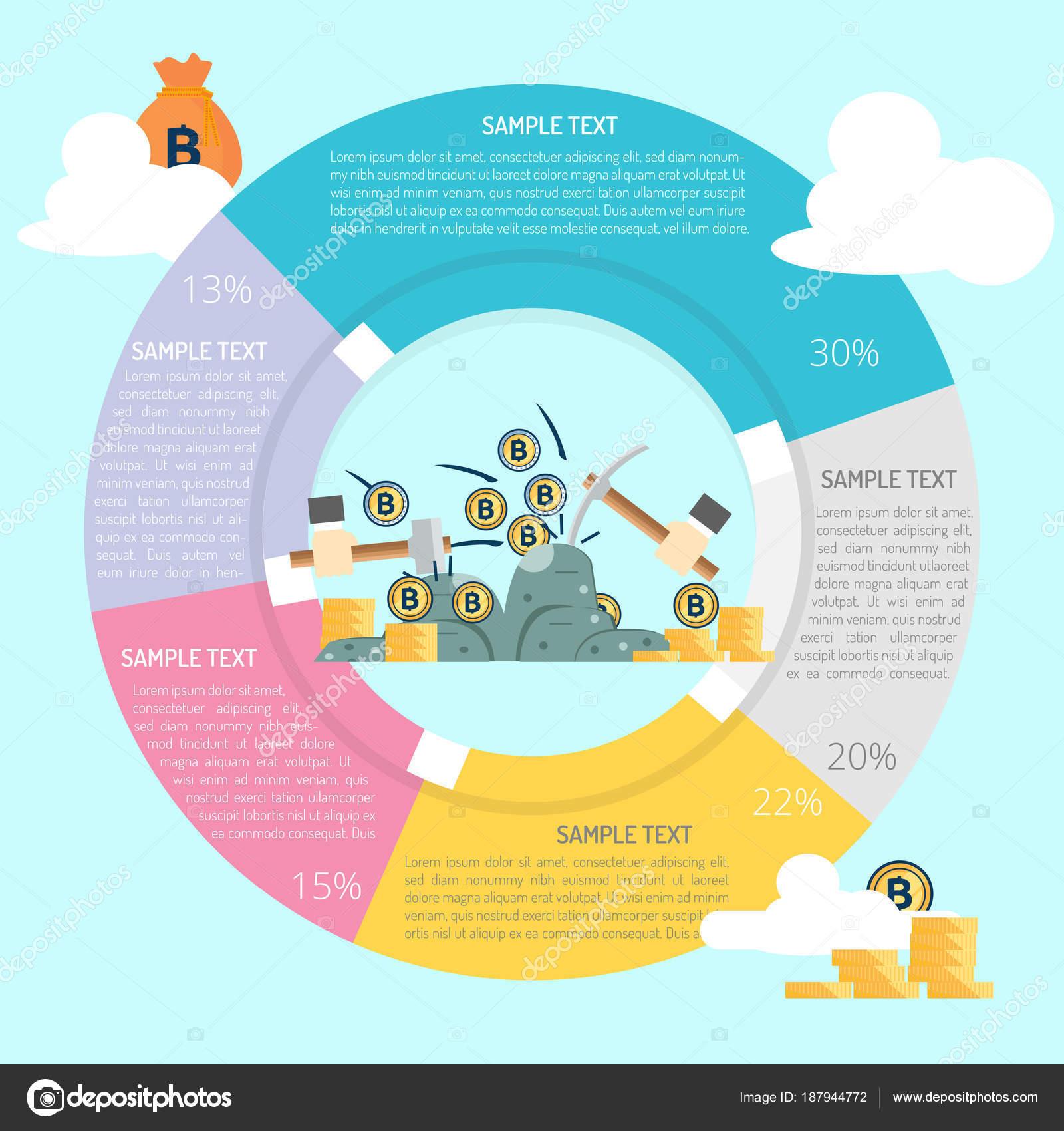 Bitcoin Mining Infographic Diagram Stock Vector