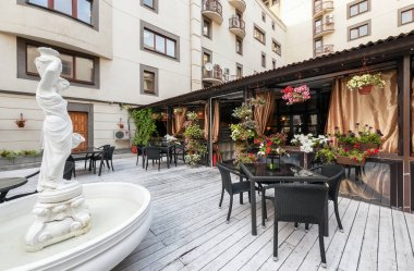 MOSCOW - JULY 2013: The interior of a summer terrace beer restaurant PivCo. Modern interios Russian pub