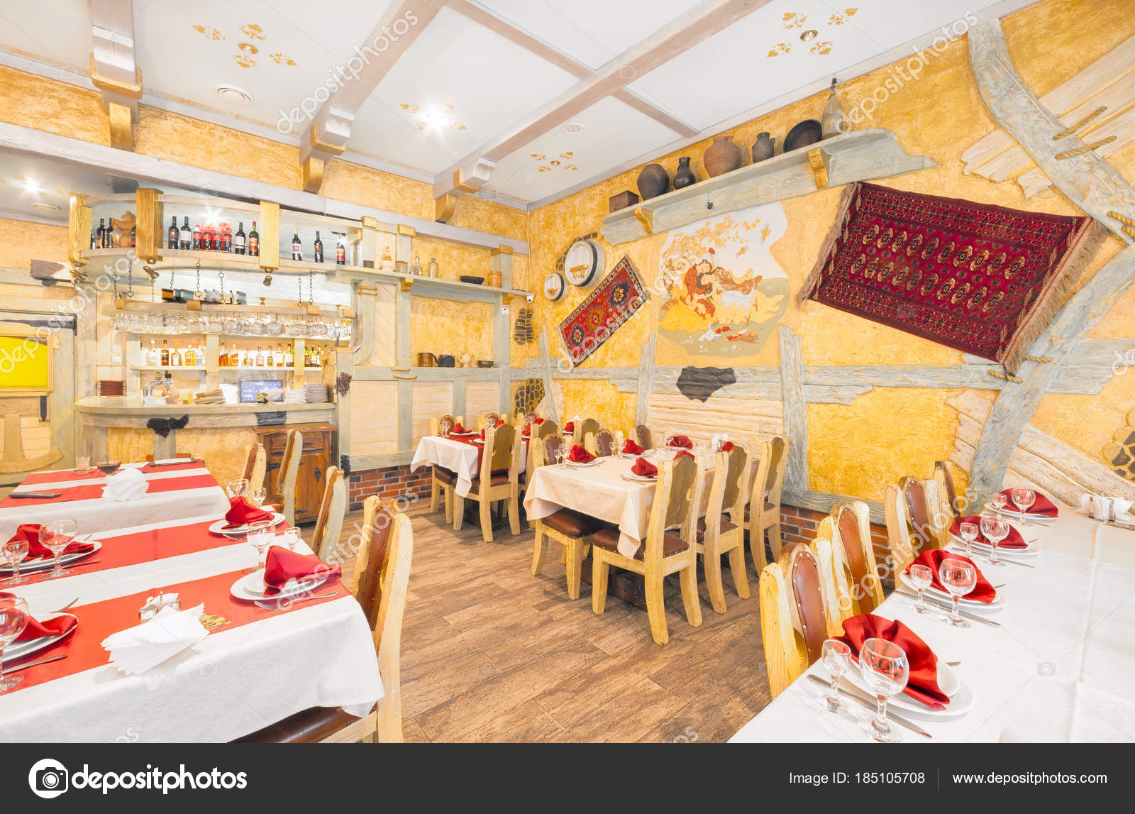 Moscow August 2014 Interior Of The Restaurant Rio Grande Hall Of Yellow Color Decorated In A Farmer S Style With Wooden Furniture Stock Editorial Photo C Saoirse2010 185105708