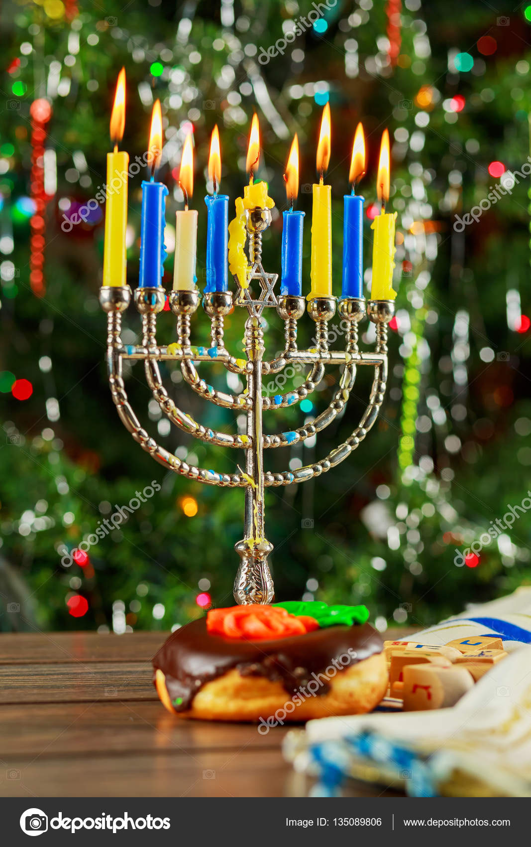 Jewish Holiday symbol Hanukkah background with menorah — Stock Photo ...