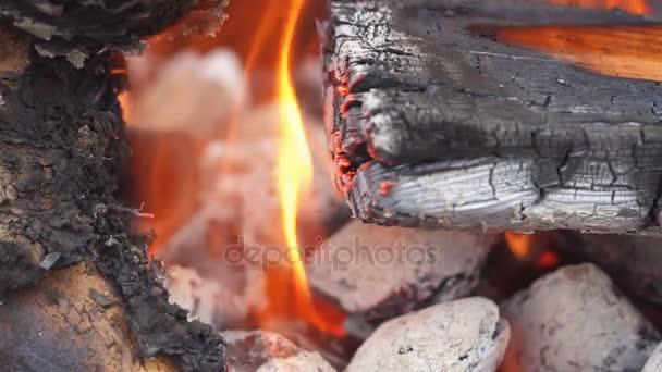 Zavřete do tábora oheň plameny a oheň