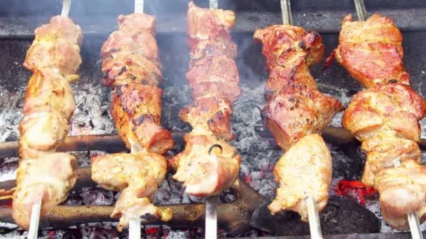 Maso pečené na ohni grilované kebaby na grilu