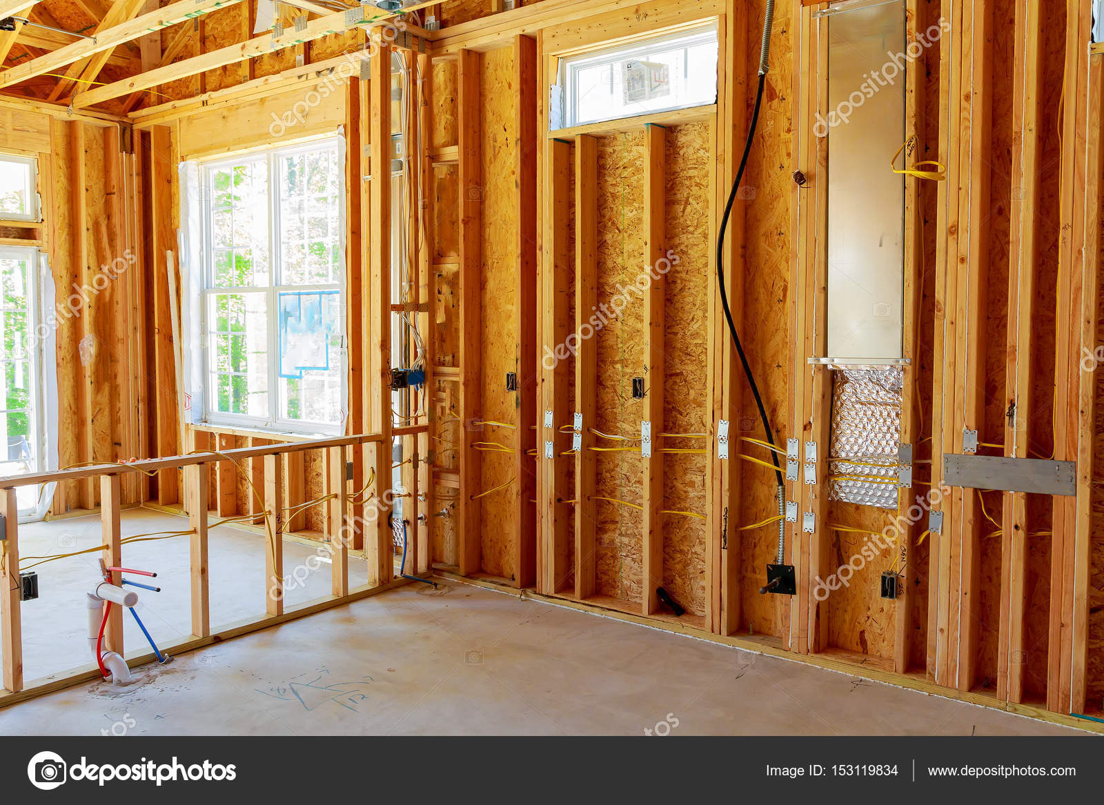 unfertige Haus Gestaltung Innenraum — Stockfoto © photovs #153119834