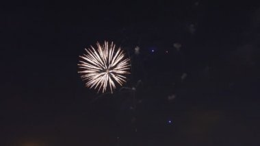 Beautiful gree purple blue red celebration fireworks located left side over night sky, Independence Day, 4th of July,