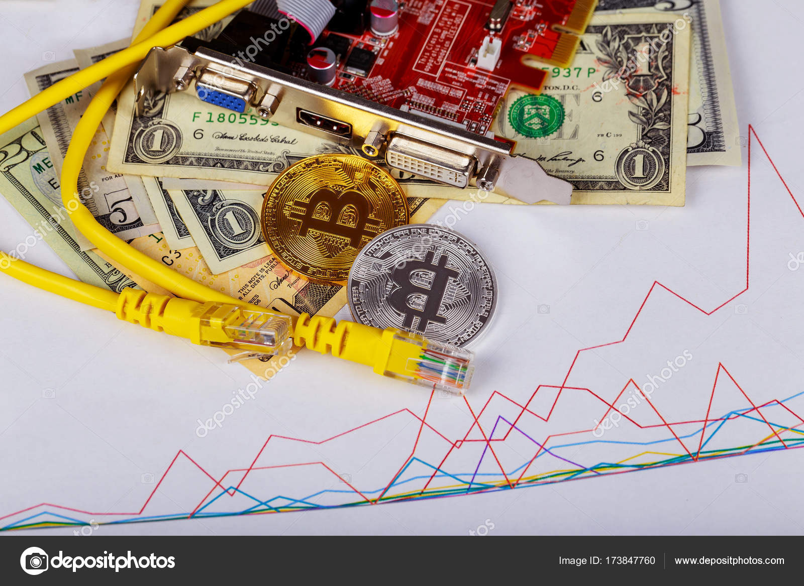 Golden Bitcoin Coins On A Paper Dollars Money Virtual Currency Wiring Without Id Crypto New Lens Flare Coin Graphic Card Internet Wire Photo By Photovs