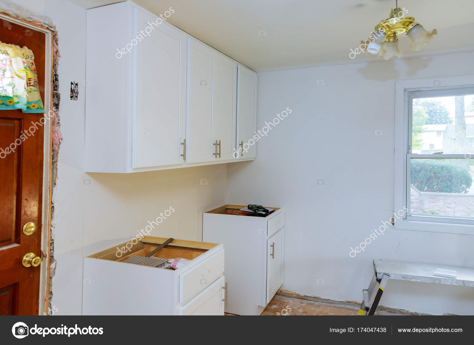 Installing New Modern Kitchen Setup Cabinate Kitchen Stock Photo