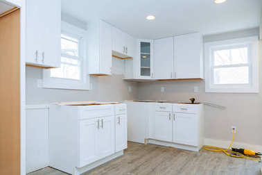 Interior design construction of a kitchen with instal kitchen cabinets