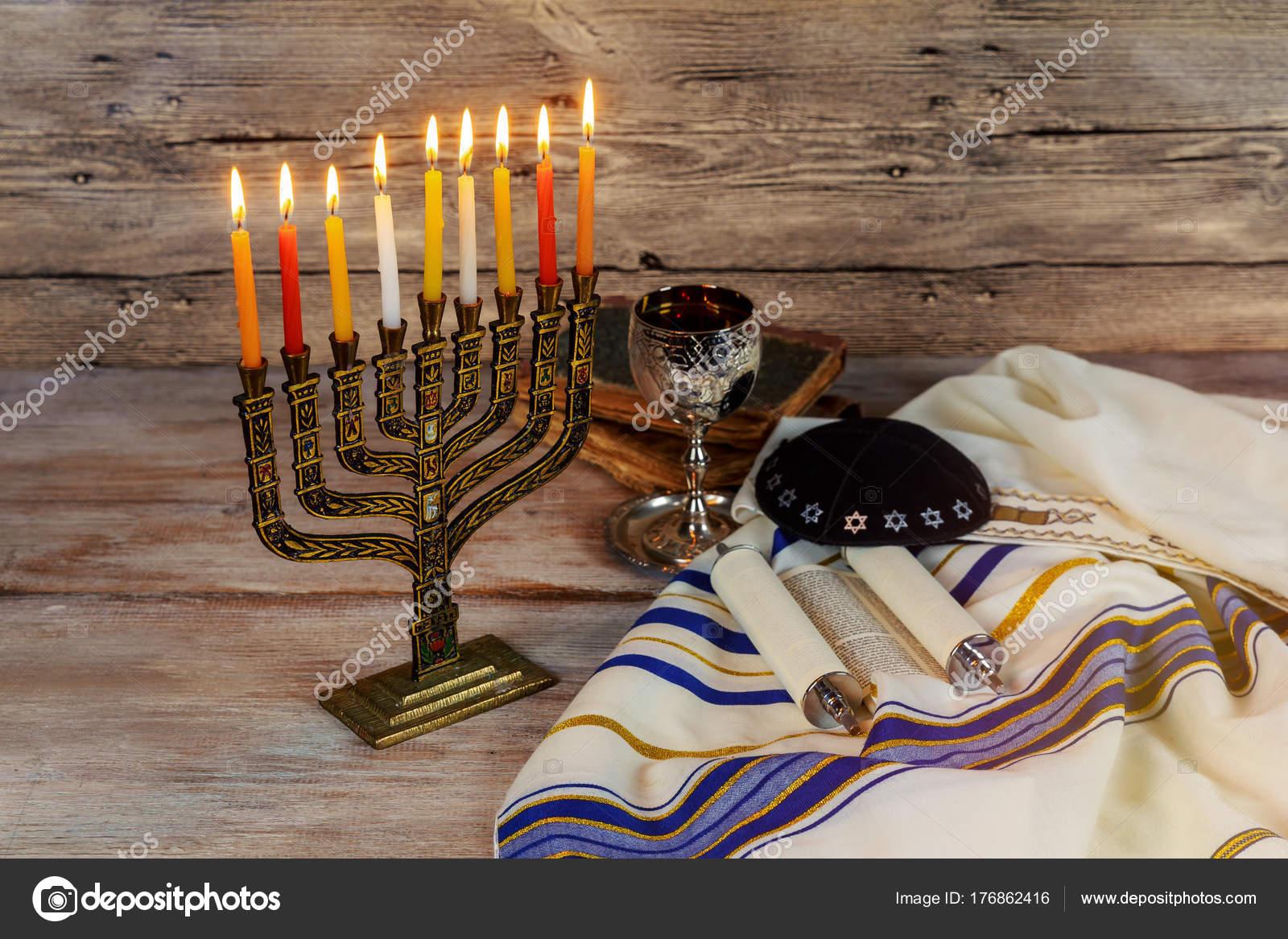 Jewish Holiday Hannukah Symbols Menorah Stock Photo Photovs