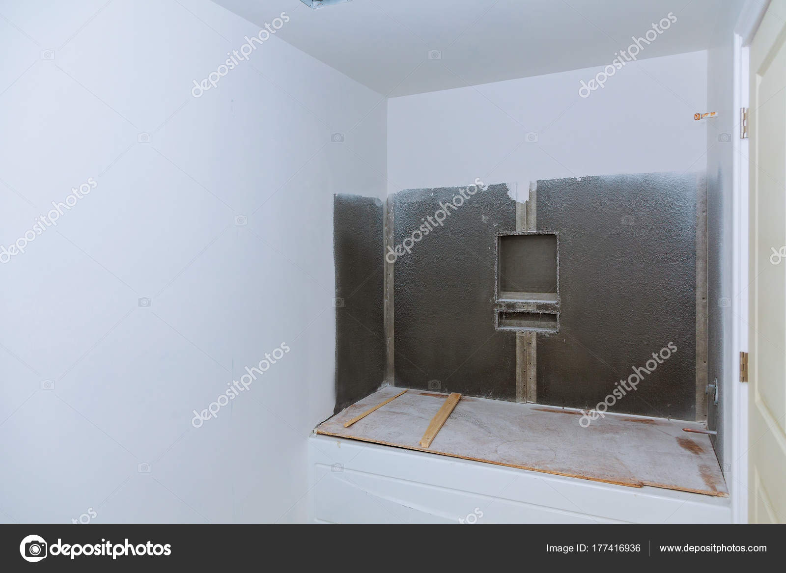 Nieuws onder bouw badkamer interieur met gipsplaten en patch ...