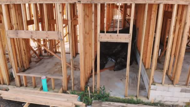Home Framing unfinished wood frame building or a house