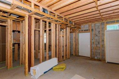 Basement framing construction interior frame of a new house a new stick built