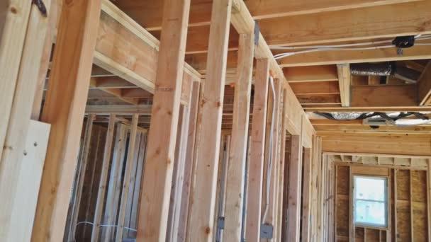 Balken die Wände Rahmen Haus im Bau Wohnhaus American