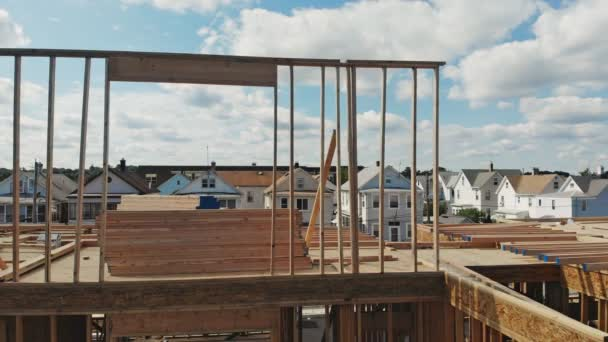 Wooden construction new residential home beam framing