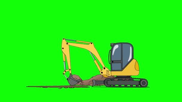 Průmyslové rypadlo kopání díry izolované na zelené obrazovce