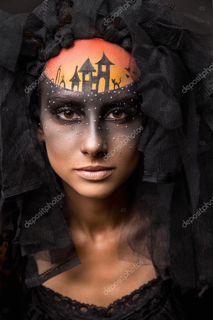 Dia Das Bruxas Assustador Noiva Com Maquiagem Assustadora De