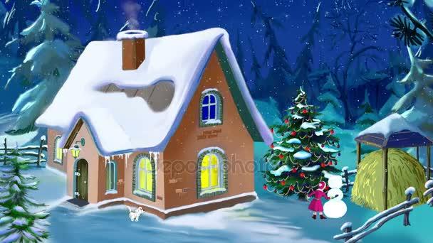 Kleines Haus in schöner Silvesternacht