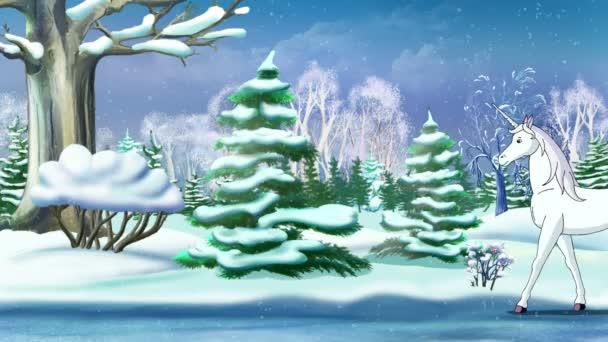 Magický jednorožec v zimním lese
