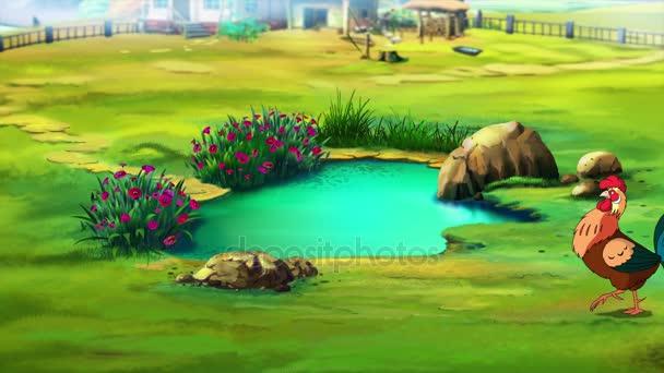 Pěvec kohout u rybníka