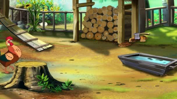 Pěvec kohout na farmě