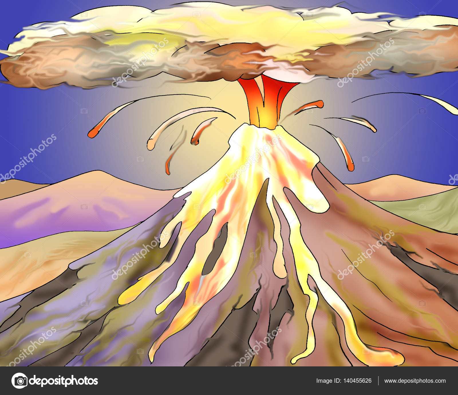 イラスト ホット溶岩と火山の噴火 ストック写真 Zarevv 140455626