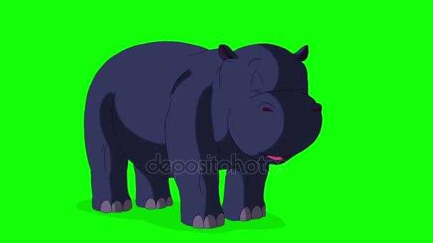 Kleines blaues Nilpferd wacht auf und öffnet den Mund.