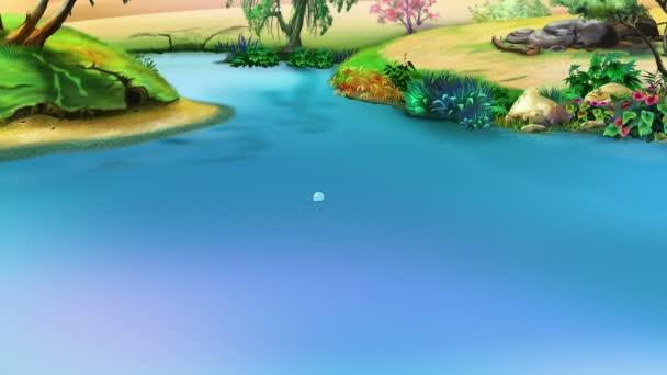 großes violettes Nilpferd taucht aus dem Wasser auf