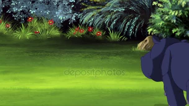 Kleines blaues Nilpferd läuft rückwärts