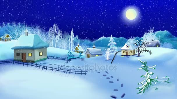 Small Village in a winter time. New Year and Christmas Time Motion Background, Handmade animation in classic cartoon style