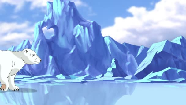 Big White Polar Bear in Arctic. Handmade animation,  motion graphic.