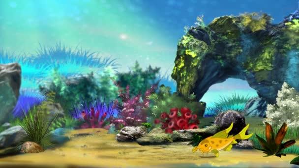 Piccoli pesci gialli solitario galleggia in un acquario. Animazione handmade, grafico movimento loop