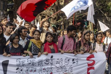 Kolkata, India - 02 14 2020: Students of Jadavpur University with Aishee Ghosh giving a call to condemn and resist fascism of ABVP and BJP in the university