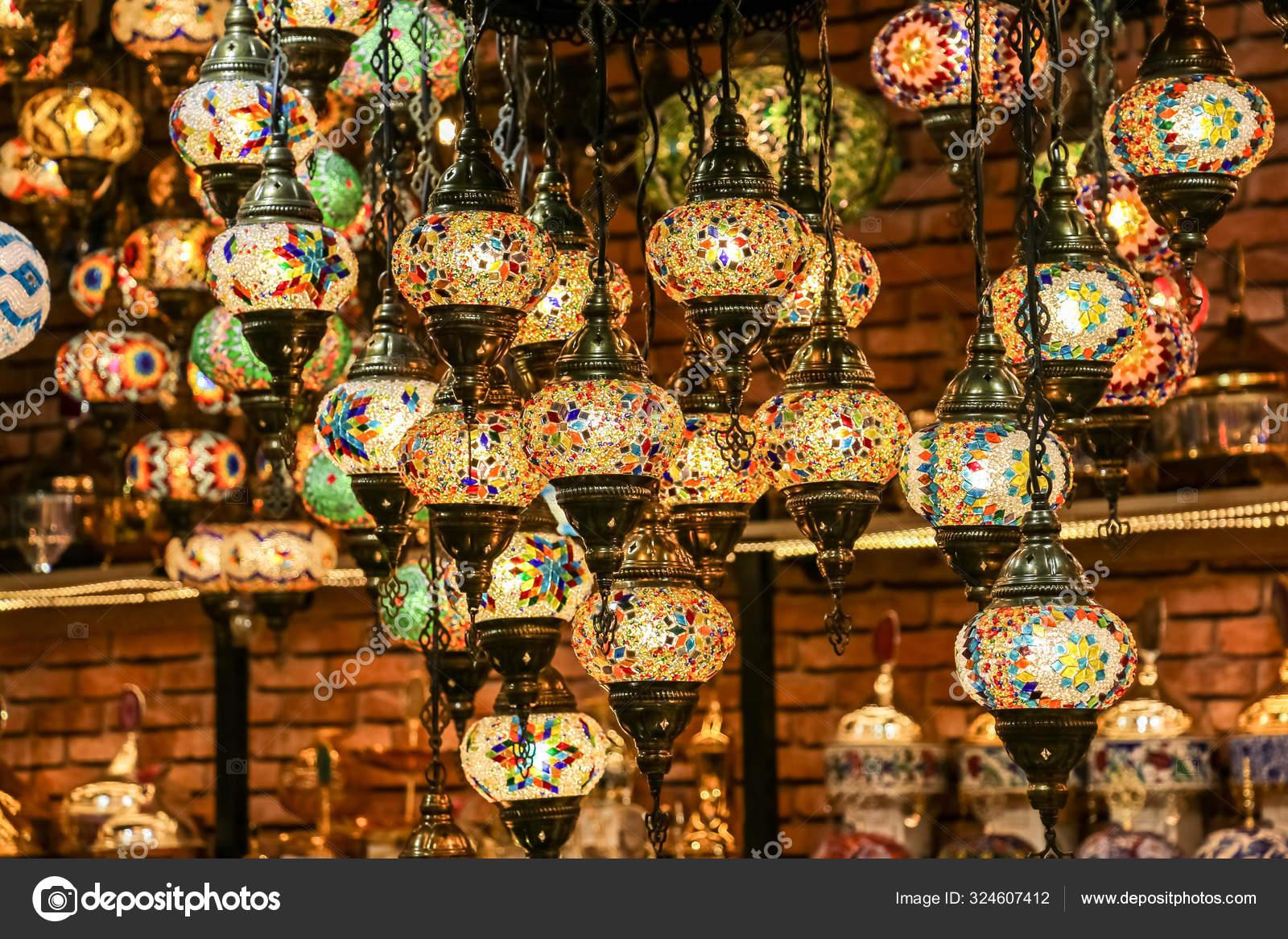 Decorative Turkish Lights Traditional Colourful Lights Hanging Lamps Istanbul Turkey Stock Photo C Clicksbyabrar 324607412