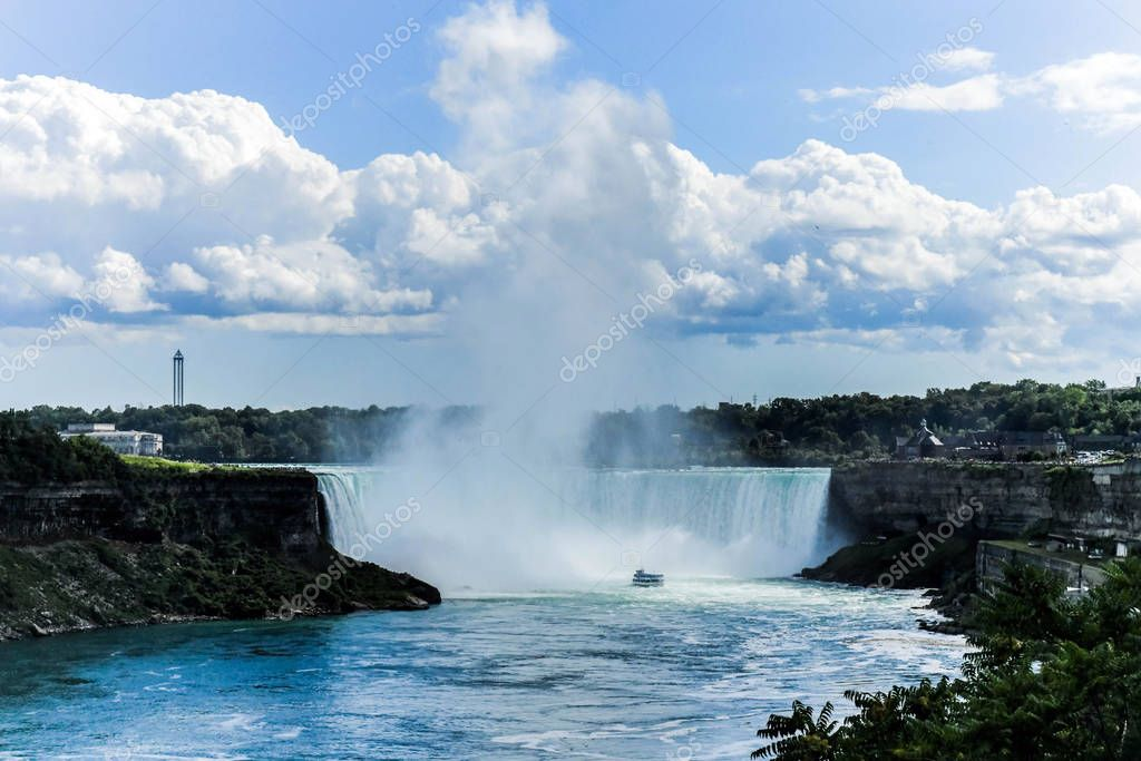 Horseshoe Falls, also known as Canadian Falls on a summer day, is the largest of the three waterfalls that collectively form Niagara Falls on the Niagara River along the CanadaUnited States