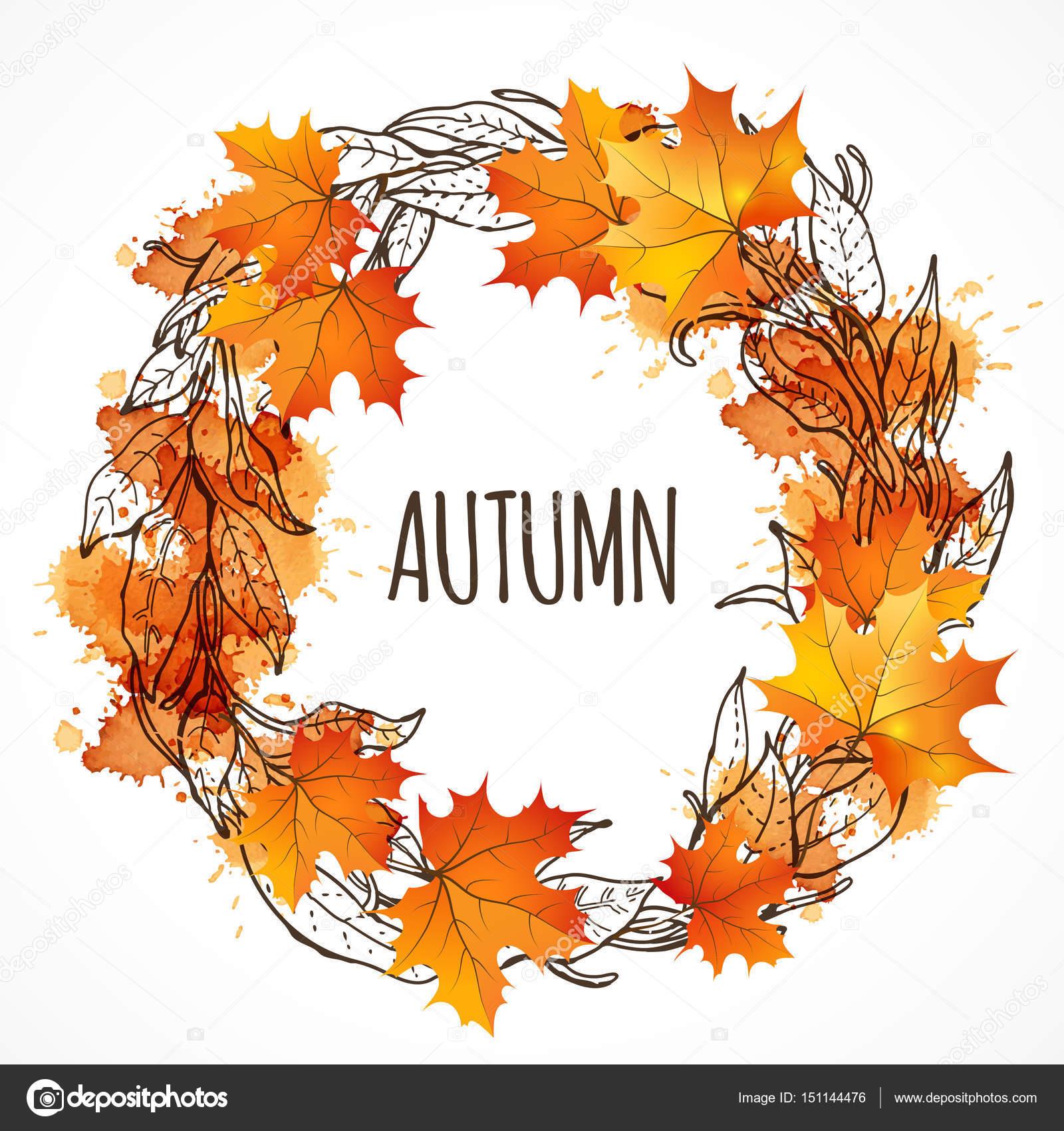 Guirnalda de hojas de oto o guirnalda con hojas de oto o - Descargar autumn leaves ...