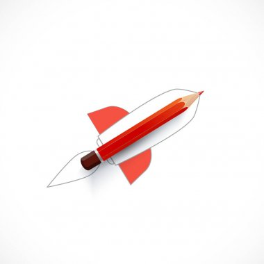 Rocket ship launch with pencil