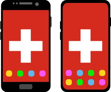 Two black smartphones with a home screen and wallpaper with the flag of Switzerland: old model with gray buttons and new model without buttons. Vector graphics, illustration