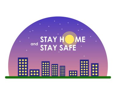 Semicircle icon: gradient violet sky, silhouettes of tower blocks with yellow windows, grass, stars, white inscription
