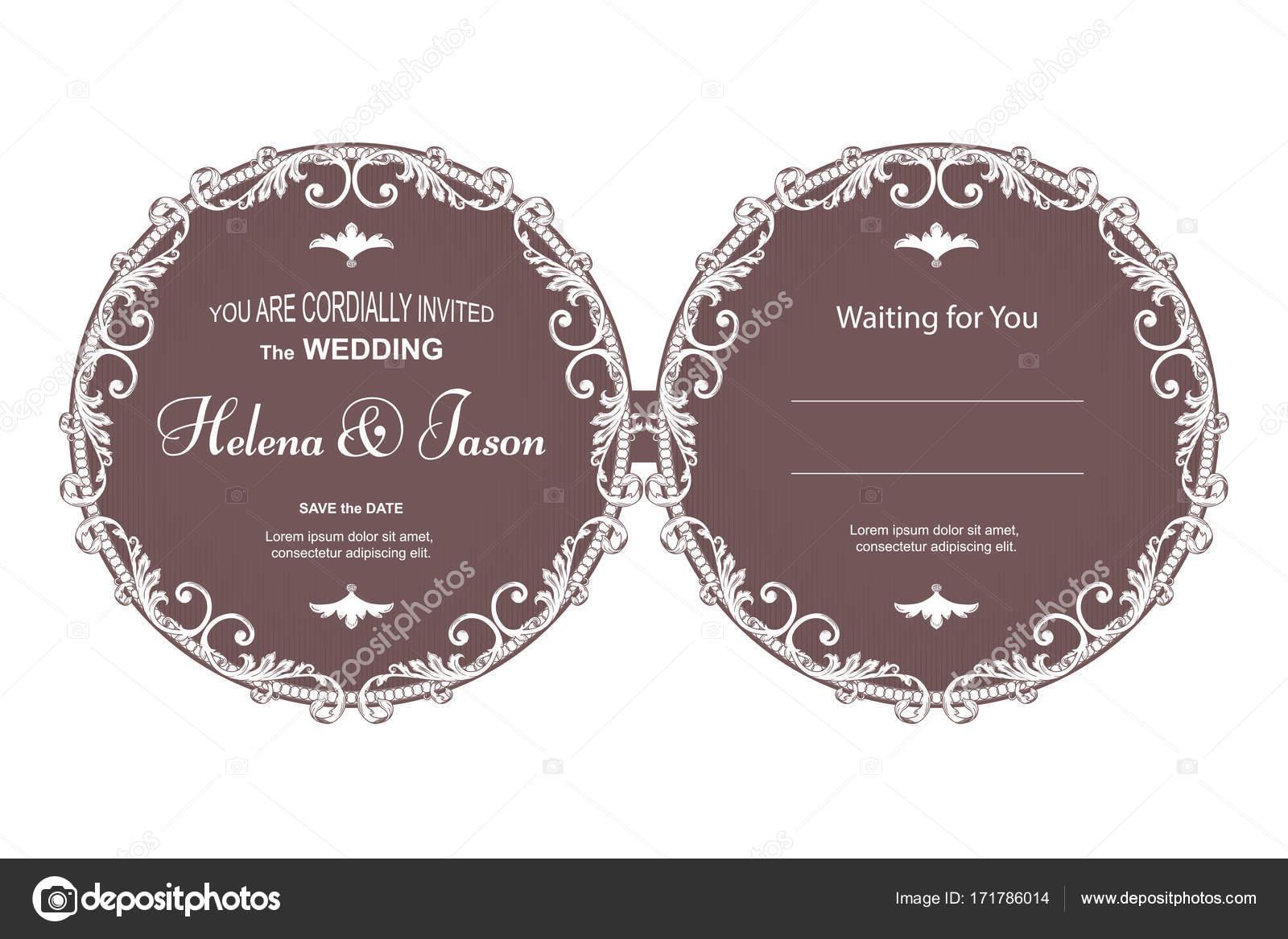 Elegante Runde zweiseitige Postkarte für die Einladung zur Hochzeit ...