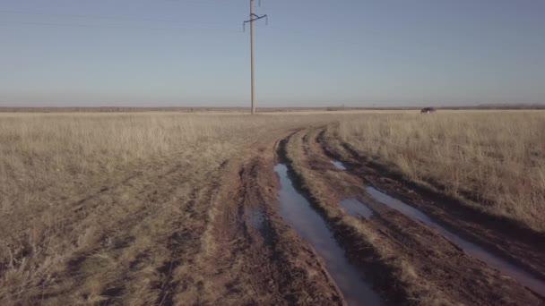 Video einer Drohne auf den Feldern Kasachstans